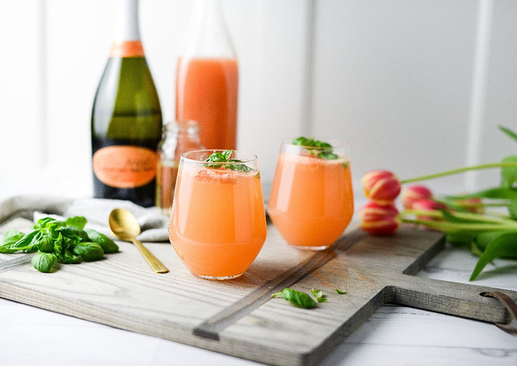 Mother's Day Grapefruit Basil Mimosas