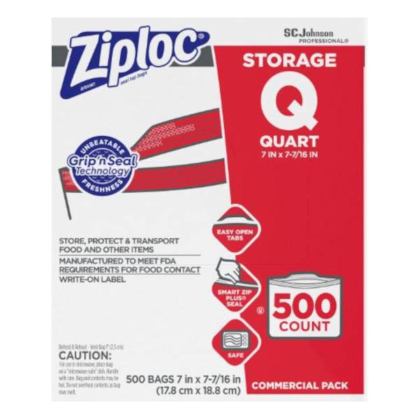 ZIPLOC STORAGE BAGS, 1 QT, 500/PK
