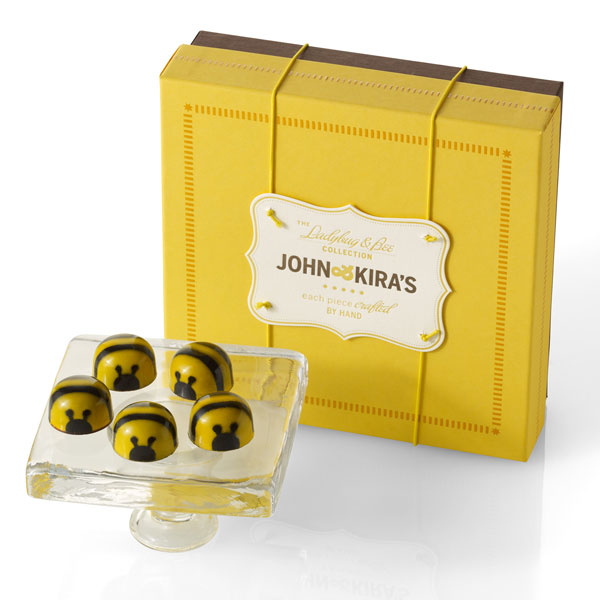 Honey Caramel Bees - 16 piece square yellow boutique box