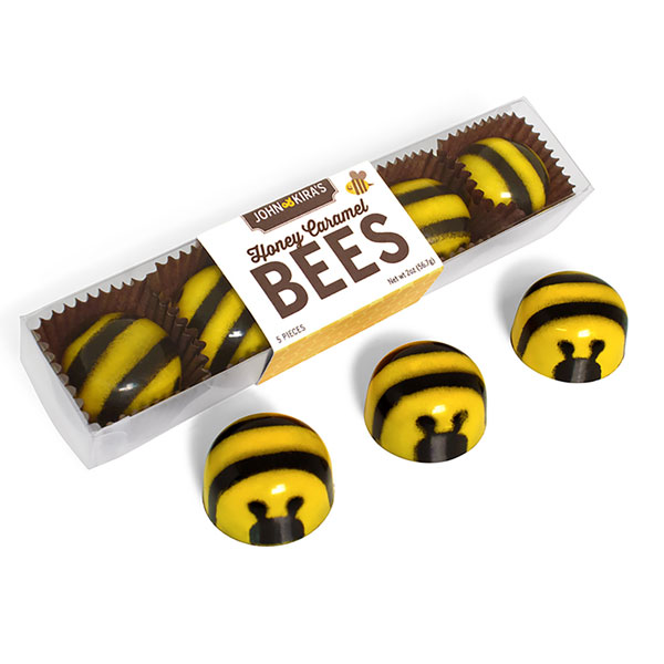 Five Caramel Chocolate Bees in a clear plastic box