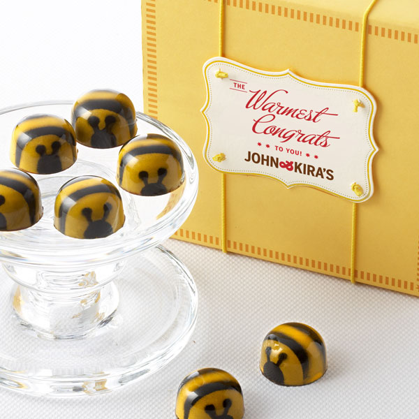 Honey Caramel Bees - 9 piece square yellow boutique box with Warmest Congrats gift tag
