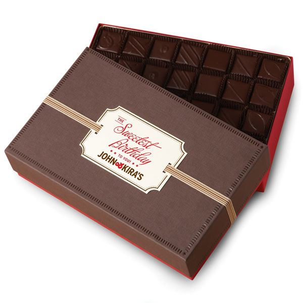 Every Flavor Ganache in 56pc boutique box with Sweetest Birthday gift tag