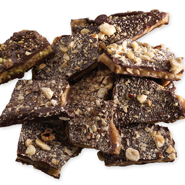 Pieces of toffee showing dark chocolate, toffee and nuts