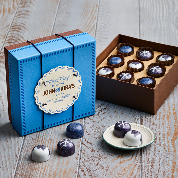 Nine pieces of winter forest trio in a square blue boutique box