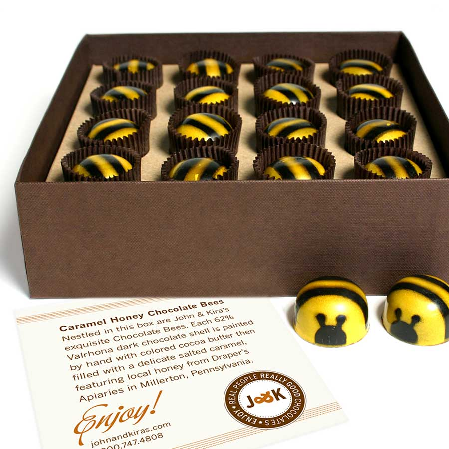 Chocolate Bees 16pc - John and Kira's Chocolates