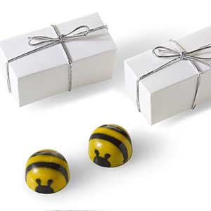 Chocolate Bee Favor 2pc: Silver Cord