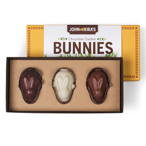 Easter gifts gourmet chocolate easter gifts john kiras chocolate garden bunnies 3pc negle Images