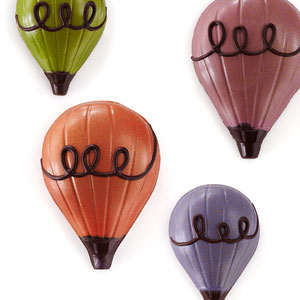Hot Air Balloon Chocolates with hand piped chocolate swirls