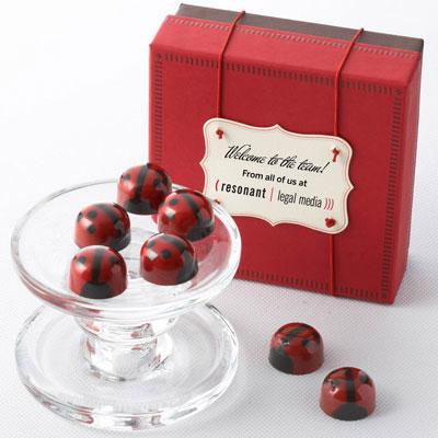 Red Ganache Ladybug Chocolates - Business 16pc