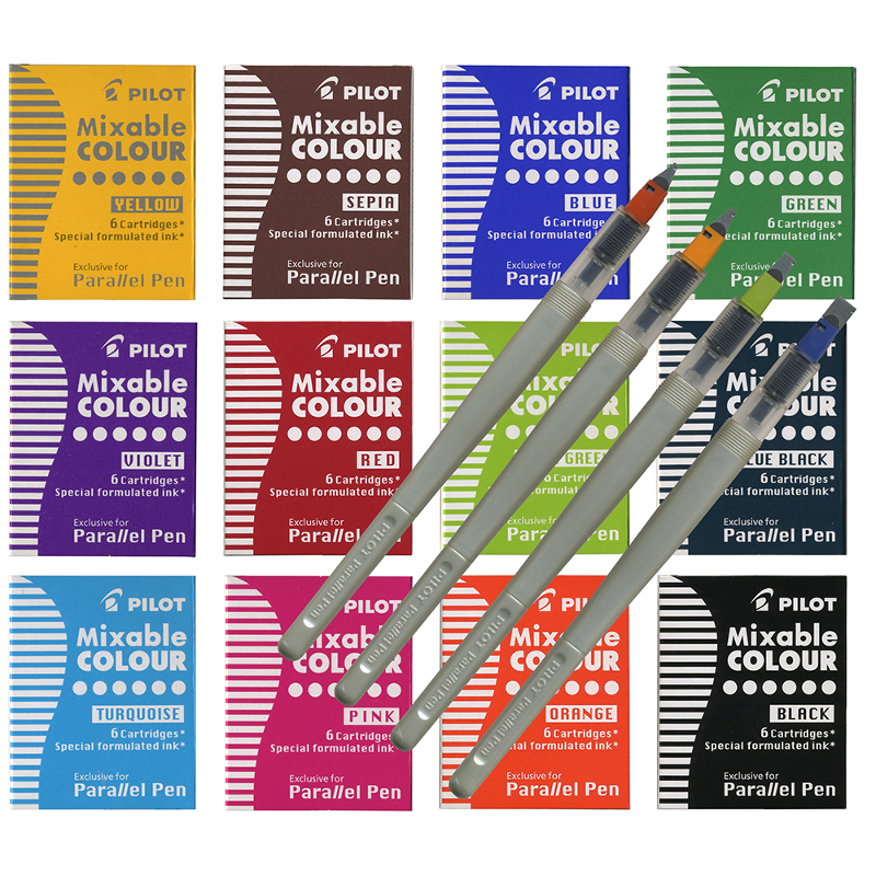Pilot Parallel set 4 pens, 72 cartridges