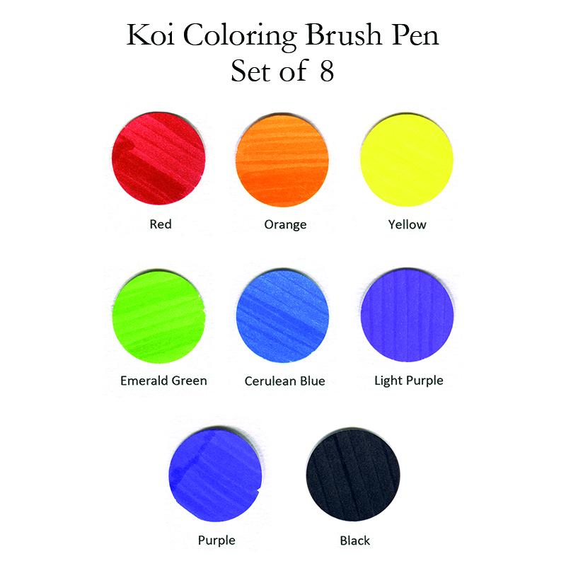 Koi Coloring Brush Pens - Set of 8