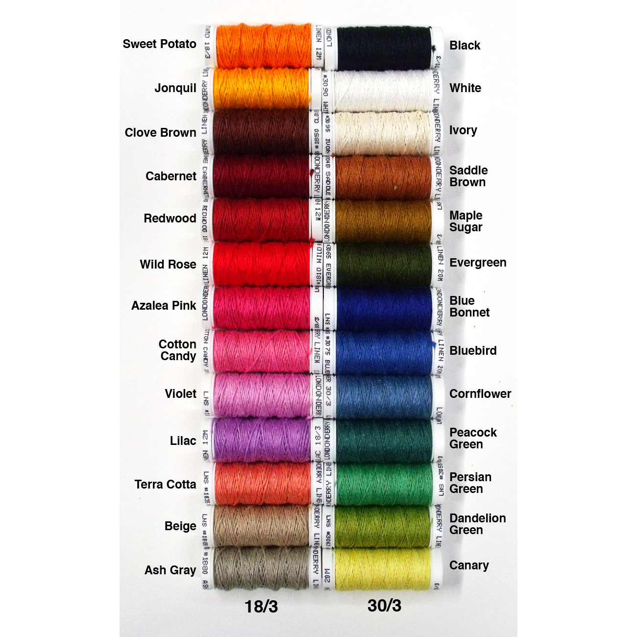 Londonderry Thread set of 26 colors 18/3