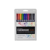 Tombow Fudenosuke Hard Tip Brush Pen Set of 10 colors