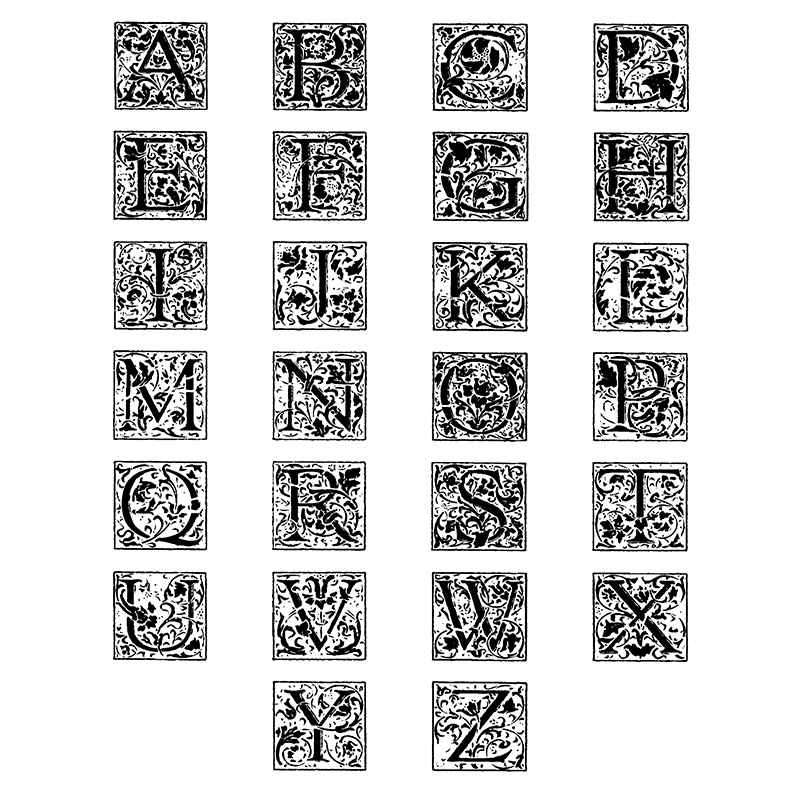 Initial Letter Square Seals