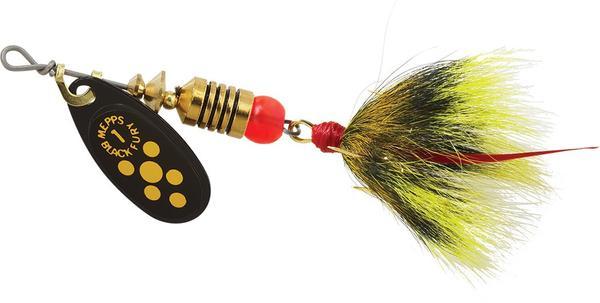 Plain Treble Hook 1//6 oz Mepps BF2 Y Black Fury In-Line Spinner