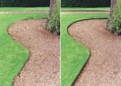 Everedge Lawn Edging - A Path Before and After - EverEdge Metal Lawn Edging KinsmanGarden.com