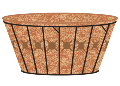 20 Inch Single Tier Basket Planter & Liner Set