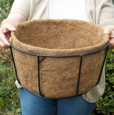 "Coco Fiber Liner with No Holes for 14"" Single Tier Basic Basket"