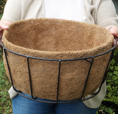 "Coco Fiber Liner with No Holes for 16"" Single Tier Basic Basket"