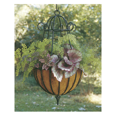 "14"" Diameter Peacock Hanging Planter & Liner Set"