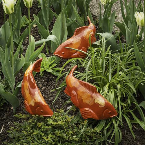 Red (Salsa) Glazed Ceramic Fish