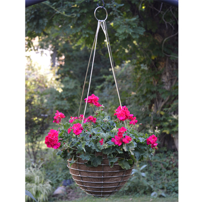 14 Inch Stainless Steel Basket & Coco Fiber Liner Set with Stainless Hanging Rods