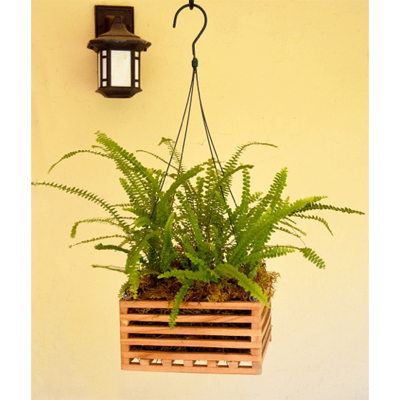8 Inch Square Wooden Basket Planter