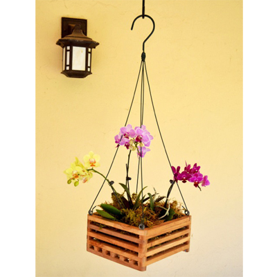 "10"" Square Wooden Basket Planters"