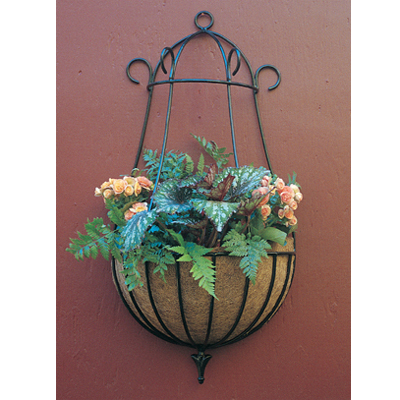 16 Inch Diameter Peacock Wall Planter & Coco Fiber Liner Set