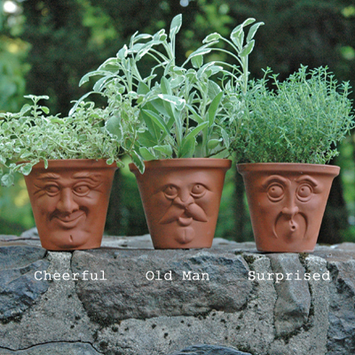 Set of Three Face Pots (Cheerful, Old Man, Surprised)