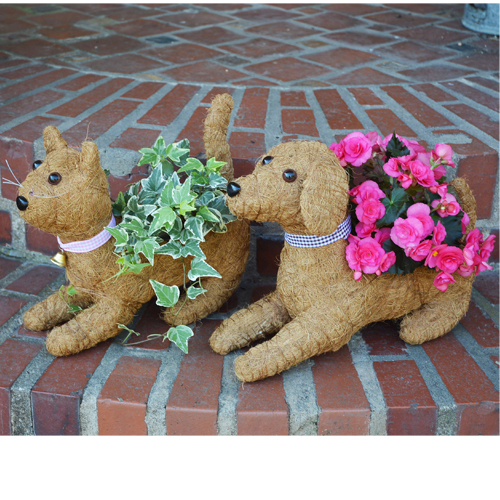 Rocky the Coco-Fiber Lying Down Dog Topiary Planter