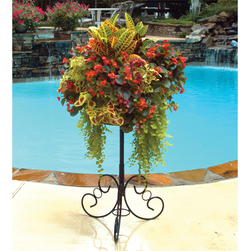 Ornate Patio Stand with 14 Inch Single Tier Basic Basket & Liner Set