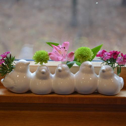White Siskin Bird Vase