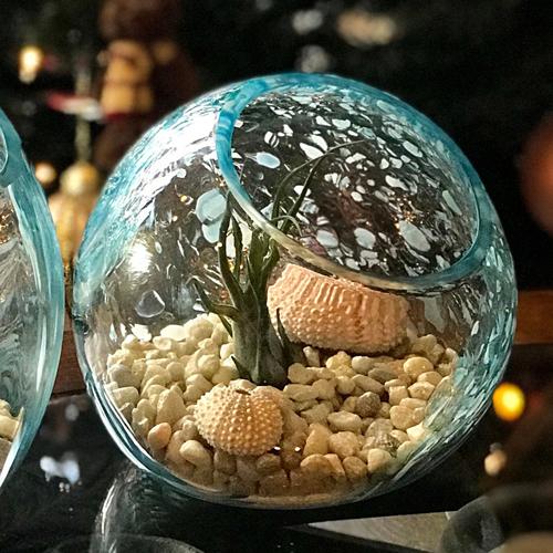 CS/3 - 7 Caribbean Teal Handblown Art Glass Terrarium / Candle Holder