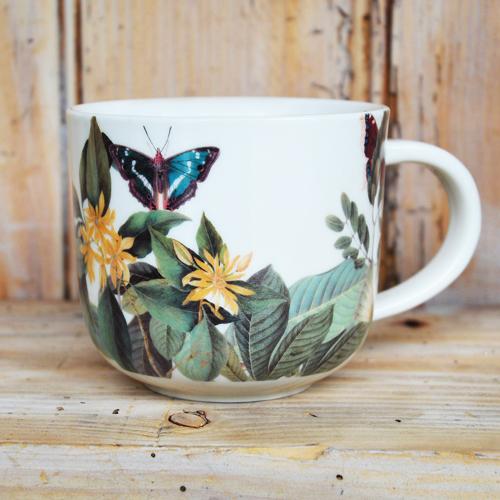Cs/4 - Kew Floral Butterfly White Mug