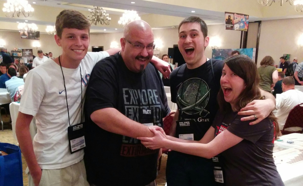 Brian and Melissa at Dice Tower Convention with Sam and David Healey