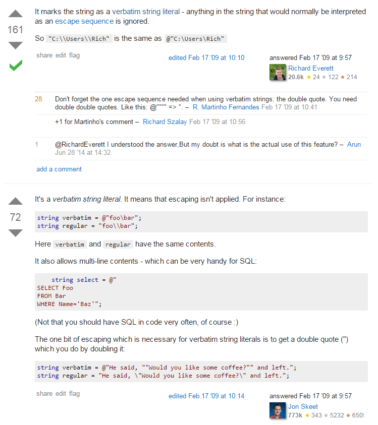 Stack Overflow question with two answers, the first by Richard Everett and the second by Jon Skeet