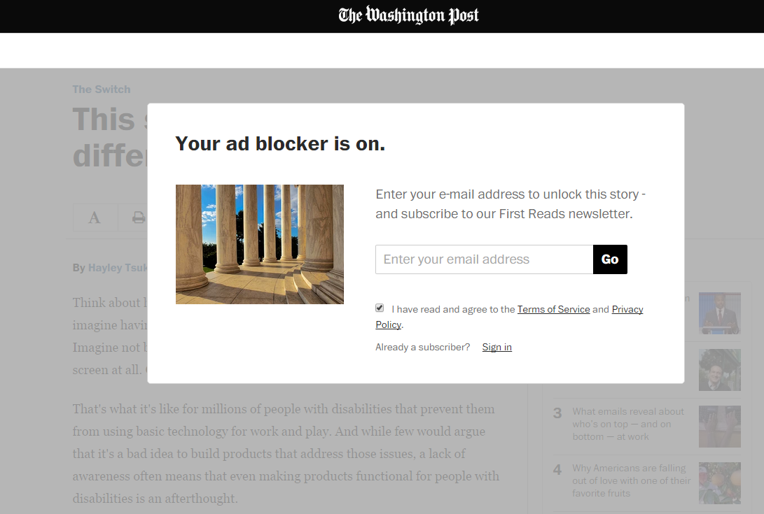 The Washington Post tells you that your ad-blocker is on