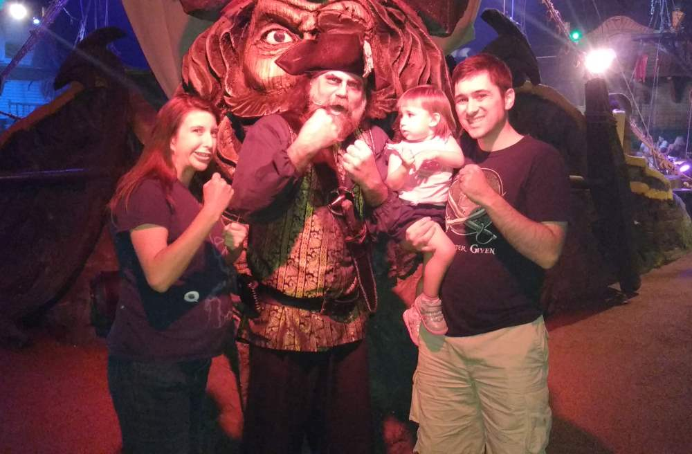 Brian, Melissa, and Lydia with the pirate captain