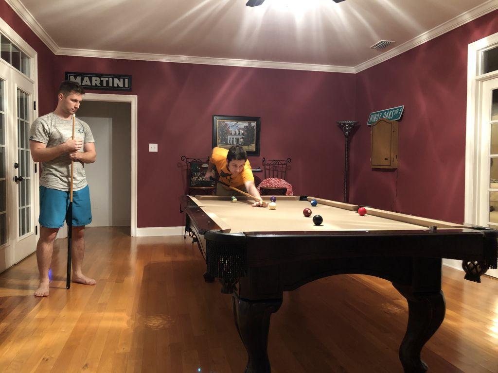 Brian and Matt playing billiards