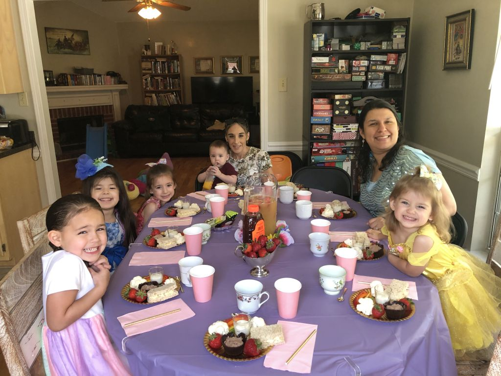 Lydia and friends at the birthday tea party