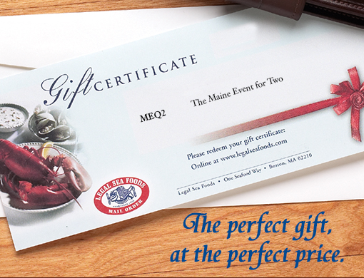Purchase Legal Sea Foods Gift Certificates for your friends and family here