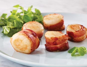 Bacon Wrapped Sea Scallops- 6 pk.