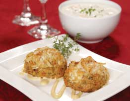 crab cakes clam chowder boston cream pie