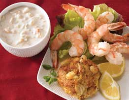 Shrimp Cocktail, Crab Cakes, and Chowder