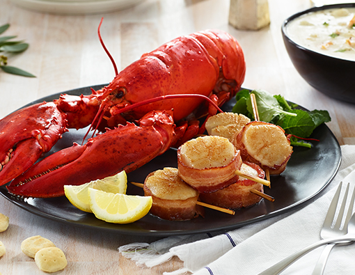Lobster, Chowder, Bacon Wrapped Scallops