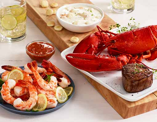 Lobster, Filet, Shrimp, and Chowder