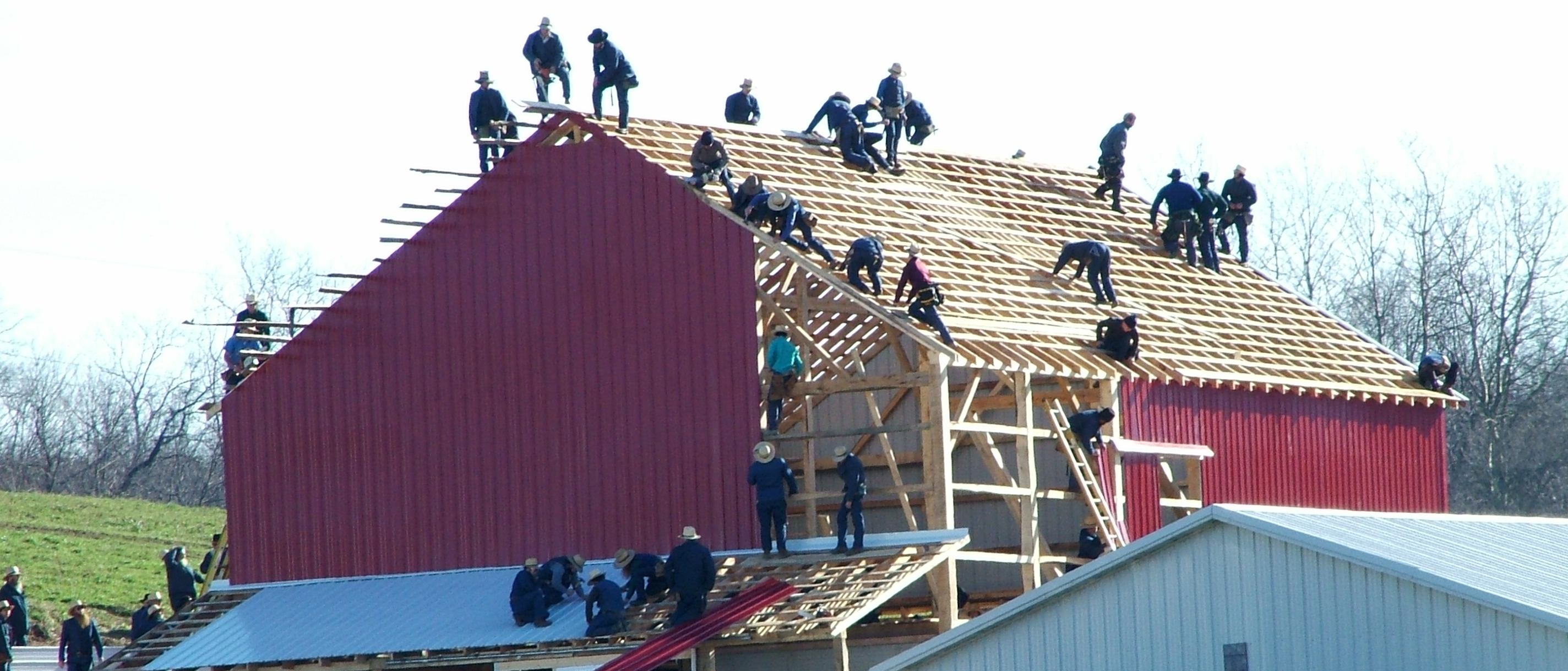 Traditional Amish Barn Raising