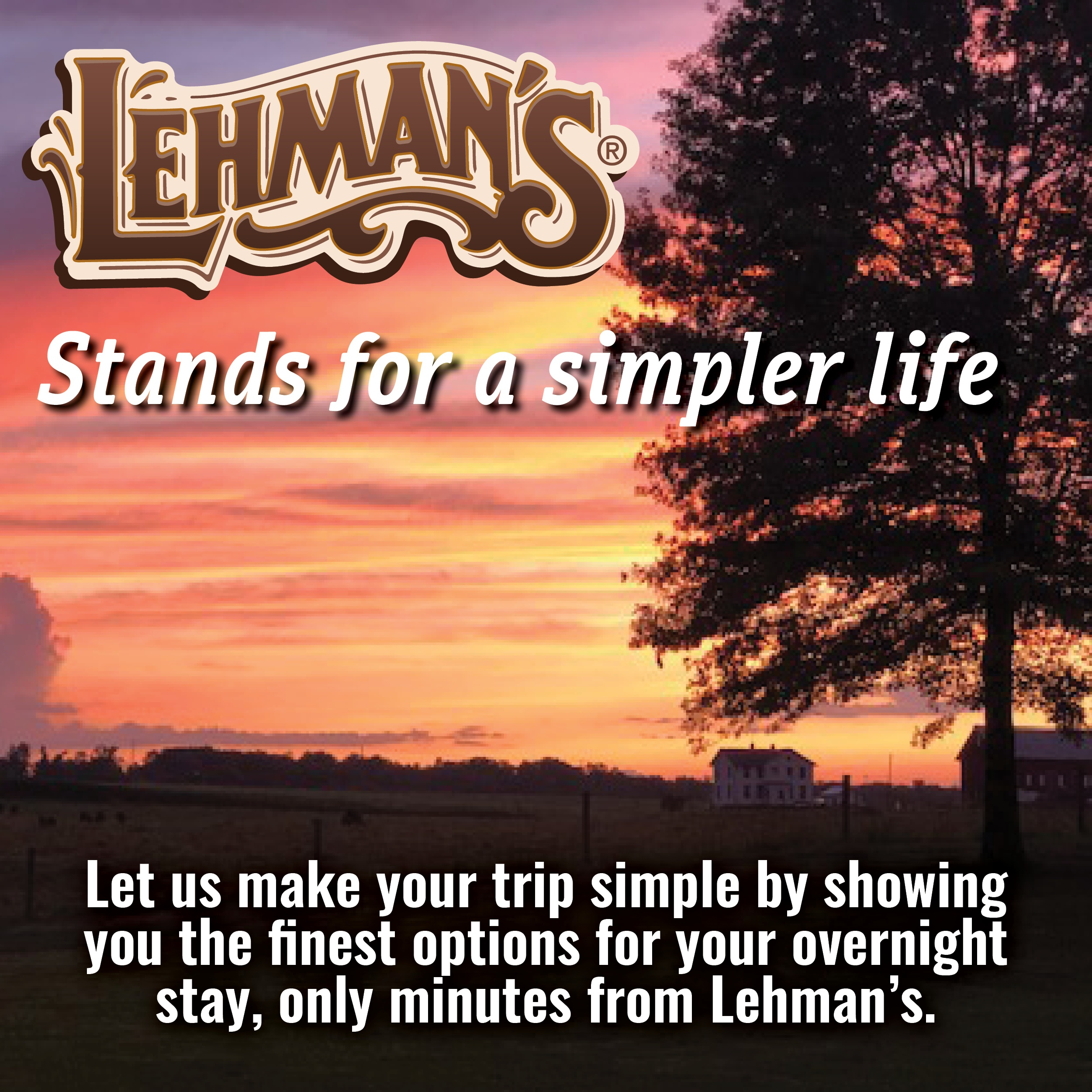 Download pdf of hotels close to Lehman's kidron store