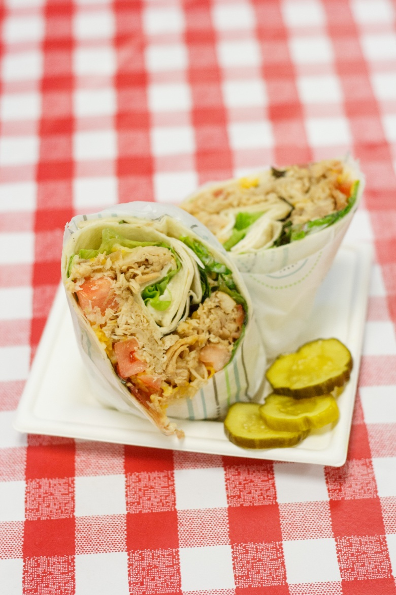 Delicious chicken wrap sandwiches with all the toppings